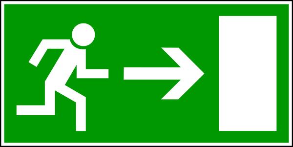 Rettungszeichen, Notausgang rechts E 13 - BGV A8