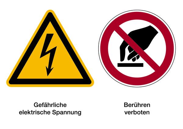 Warnzeichen Kombischild Elektrische Spannung / Berühren verboten