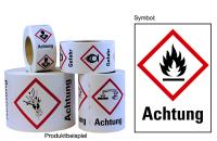 """Gefahrstoffkennzeichnung - Flamme (GHS02) & Signalwort """"Achtung"""" - Rolle à 500 Stück"""