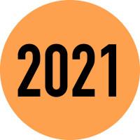 """Klebepunkte aus Papier, """"2021"""" - farbig - VE = Rolle à 500 Stk."""