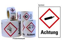 """Gefahrstoffkennzeichnung - Gasflasche (GHS04) & Signalwort """"Achtung"""" - Rolle à 500 Stück"""