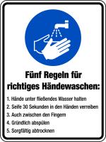 Kombischild, Gebotszeichen, 5 Regeln zum Händewaschen, 200 x 150 mm