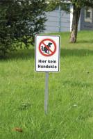 Schilderset, Hier kein Hundeklo - Schild, Erdspieß, Verstärkerplatte
