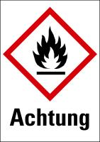 """Gefahrstoffkennzeichnung - Flamme (GHS02) & Signalwort """"Achtung"""" - Bogen à 16 Stück"""