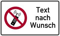 Kombischild, Handyverbot (P013) + Wunschtext, 150 x 250 mm