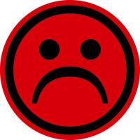 Papieretikett, Roter Smiley - negativ - VE = Rolle à 100 Stk.