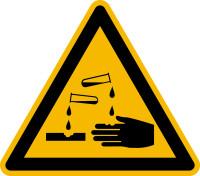 Warnzeichen, Warnung vor ätzenden Stoffen D-W004 - DIN 4844/BGV A8
