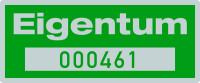 """Inventaretiketten """"Eigentum"""", fortlaufend nummeriert, silber/grün, Polyesterfolie  - VE = 100 Stk."""