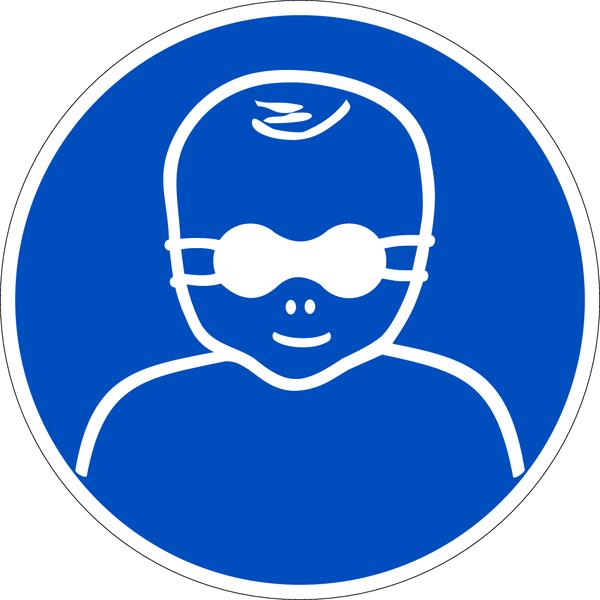 Gebotszeichen, Kleinkinder durch weitgehend undurchl. Augenabsch. schützen M025 - DIN EN ISO 7010