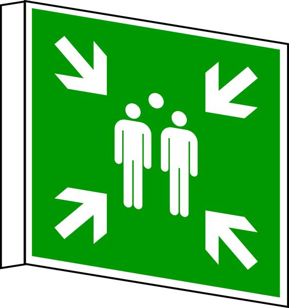 Rettungszeichen, Fahnen-/Nasenschild Sammelstelle E007 - ASR A1.3 (DIN EN ISO 7010)