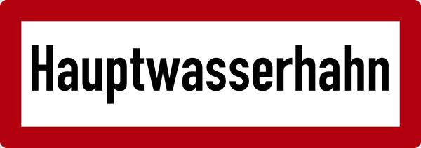 Brandschutzzeichen, Hauptwasserhahn - DIN 4066