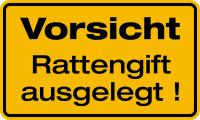 Hinweisschild, Vorsicht Rattengift ausgelegt!, 120x200mm, Alu geprägt