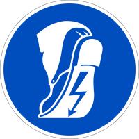 Gebotszeichen, Leitfähiges Schuhwerk tragen - praxisbewährt