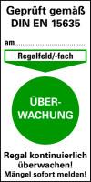 Prüfplakette gem. DIN EN 15635, Überwachung, Folie, 80 x 40 mm - VE = 100 Stk.
