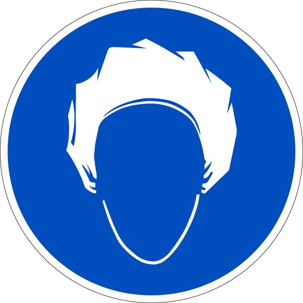 Gebotszeichen, Kopfhaube tragen - praxisbewährt