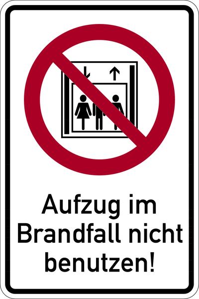Kombischild, Aufzug im Brandfall nicht benutzen
