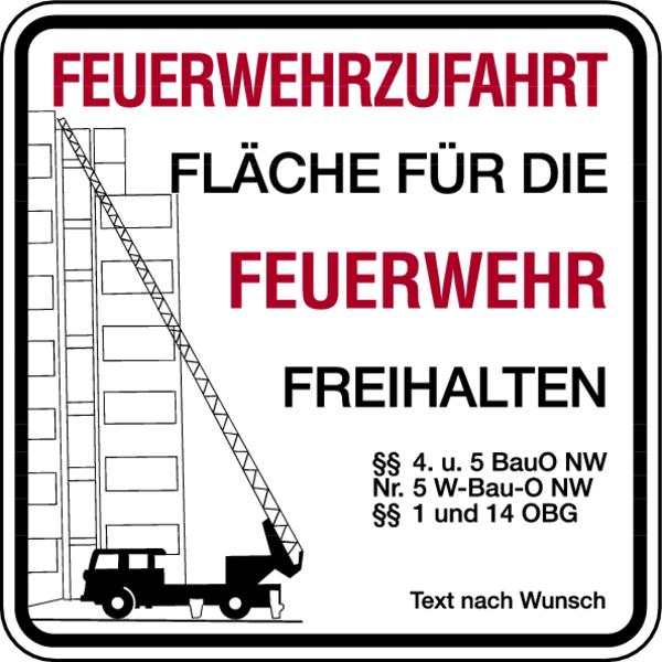 Brandschutzzeichen, Feuerwehrzufahrt mit Text nach Wunsch