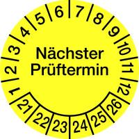 Prüfplakette, Nächster Prüftermin, Folie, gelb/schwarz, Ø 100 mm - VE = 2 Plaketten