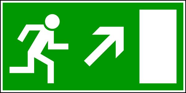 Rettungszeichen, Notausgang aufwärts rechts E 13 - BGV A8
