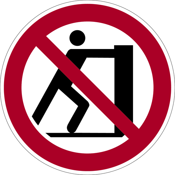 Verbotszeichen, Schieben verboten P017 - ASR A1.3 (DIN EN ISO 7010)