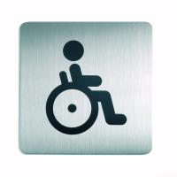 WC-Piktogramm, Rollstuhlfahrer, quadratisch, Edelstahl