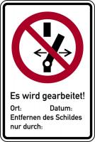 Kombischild, Nicht schalten / Es wird gearbeitet - ASR A1.3 (DIN EN ISO 7010)