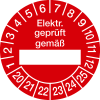 Prüfplakette, Elektr. geprüft gemäß Ø 30mm - VE = 10 Plaketten
