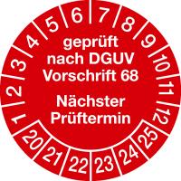 Prüfplaketten, geprüft nach DGUV Vorschrift 68 Nächster Prüftermin Ø 30mm - VE = 10 Plaketten