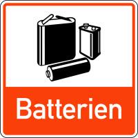 Abfallkennzeichen, Batterien, orange, 100 x 100 mm, Folie