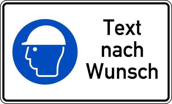 Kombischild Kopfschutz benutzen + Text nach Wunsch