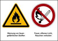 Kombischild, Feuergefährliche Stoffe, 148 x 210 mm
