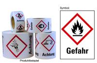 """Gefahrstoffkennzeichnung - Flamme (GHS02) & Signalwort """"Gefahr"""" - Rolle à 500 Stück"""