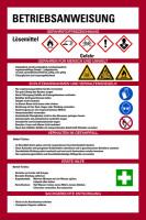 Aushang, Betriebsanweisungen für Lösemittel - GHS/ISO 7010 Piktogramme