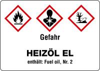 Gefahrstoffetikett, Heizöl EL (Kurzform), Folie, GHS/CLP/GefStoffV