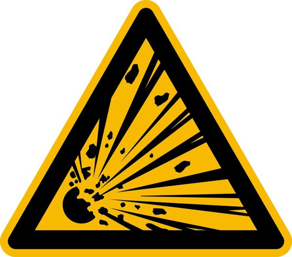Warnzeichen, Warnung vor expolosionsgefährlichen Stoffen W002 - ASR A1.3 (DIN EN ISO 7010)