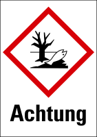 """Gefahrstoffkennzeichnung - Umwelt (GHS09) & Signalwort """"Achtung"""" - Bogen à 16 Stück"""