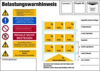 Regalkennzeichnung mit Belastungswarnhinweisen, Palettenregal - DIN EN 15635