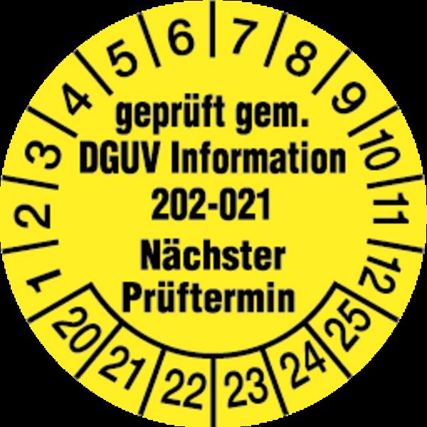 Prüfplakette, gepr. gem. DGUV Information 202-021 nächster Prüftermin Ø 30mm - VE = 10 Plaketten