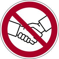 Verbotsschild, Händeschütteln verboten, Ø 100 mm, Folie selbstklebend, praxisbewährt