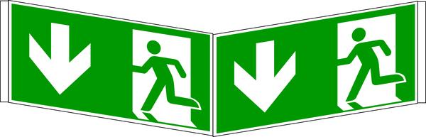 Rettungszeichen, Winkelschild Notausgang - ASR A1.3 (DIN EN ISO 7010)