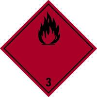 Gefahrzettel, Gefahrgutklasse 3 - Entzündbare flüssige Stoffe (rot/schwarz)
