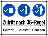 Hinweisschild, Zutritt nach 3G-Regel