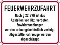 Brandschutzzeichen, Feuerwehrzufahrt nach § 22 VVB