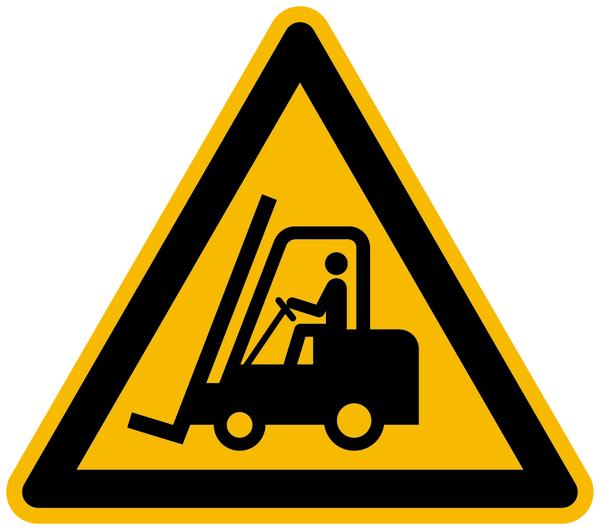 Warnzeichen, Warnung vor Flurförderzeugen W014 - ASR A1.3 (DIN EN ISO 7010)