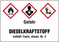 Gefahrstoffetikett, Dieselkraftstoff (Kurzform), Folie, GHS/CLP/GefStoffV
