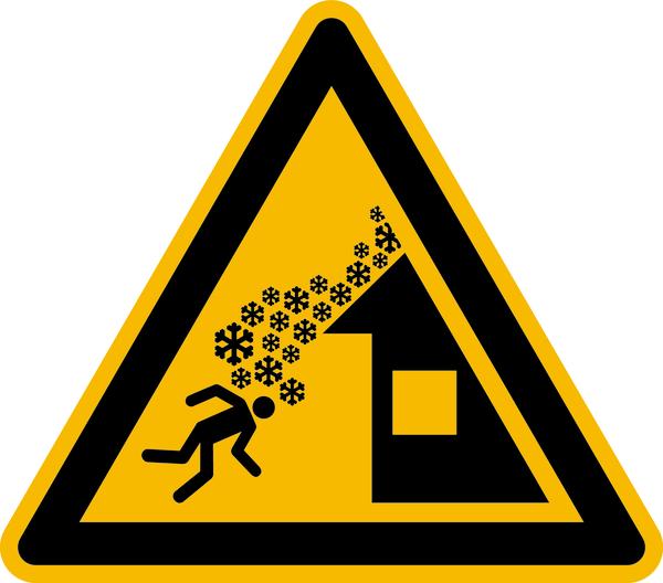 Warnzeichen, Warnung vor Dachlawine W040 - ASR A1.3 (DIN EN ISO 7010)