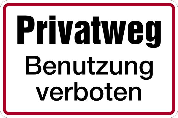 Hinweisschild, Privatweg Benutzung verboten, 200x300mm, Alu geprägt
