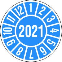 Jahresprüfplakette, blau/weiß Ø 35mm - VE = 10 Plaketten