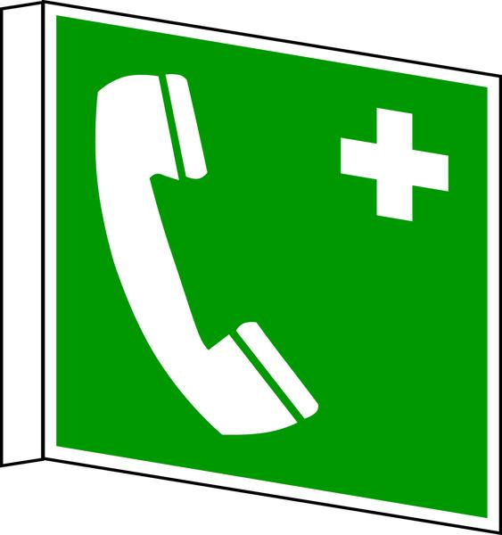 Rettungszeichen, Fahnen-/Nasenschild Notruftelefon E004 - ASR A1.3 (DIN EN ISO 7010)