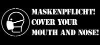 Sprühschablone, Maskenpflicht, mit Symbol, 250 x 550 mm, Kunststoff